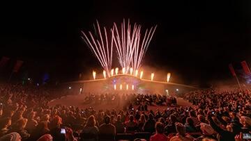 showlights 2018 open air arena gaerten der welt feuerwerk flammen nebel