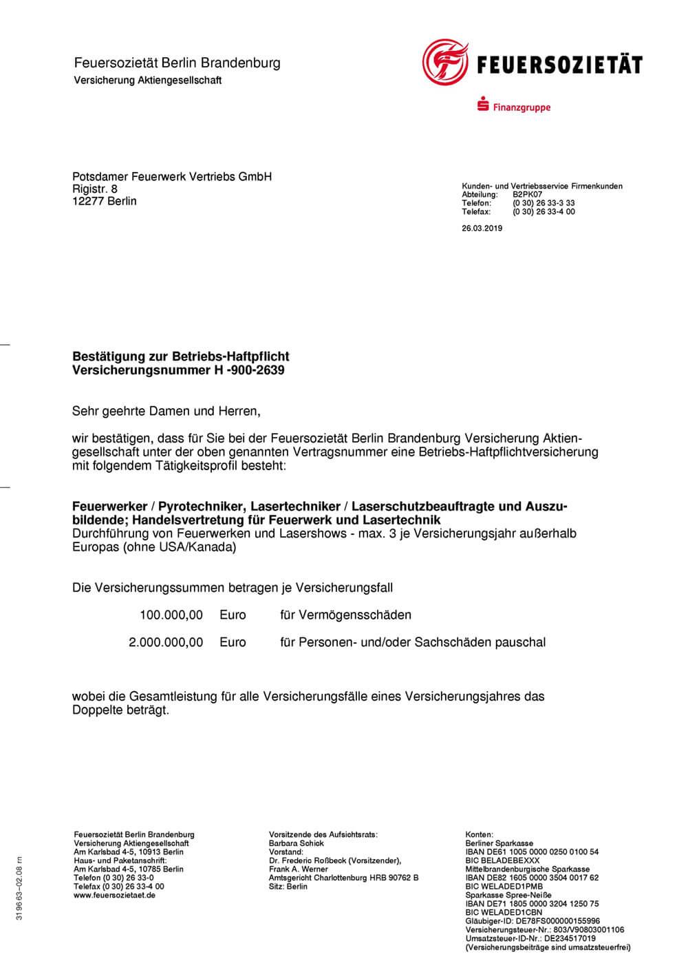 Schriftstück Nachweis über Versicherungsschutz Feuersozietät Seite 1