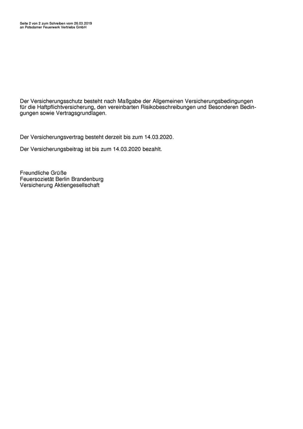 Schriftstück Nachweis über Versicherungsschutz Feuersozietät Seite 2